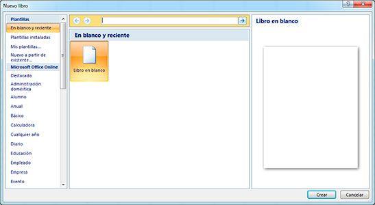 Crear un libro en Excel