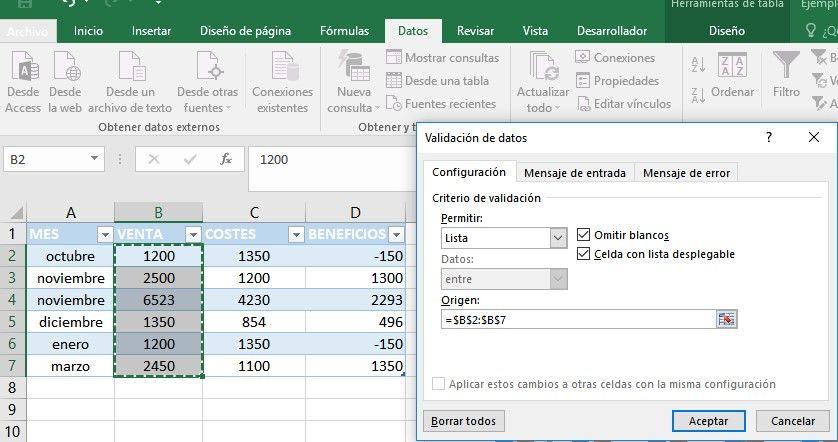 Añadir listas desplegables en Excel