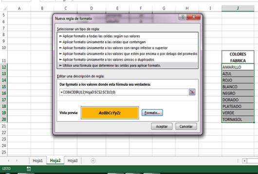 cruzar datos en Excel