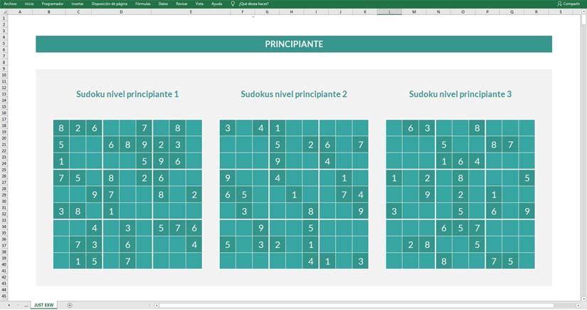 Plantilla para hacer sudokus en Excel