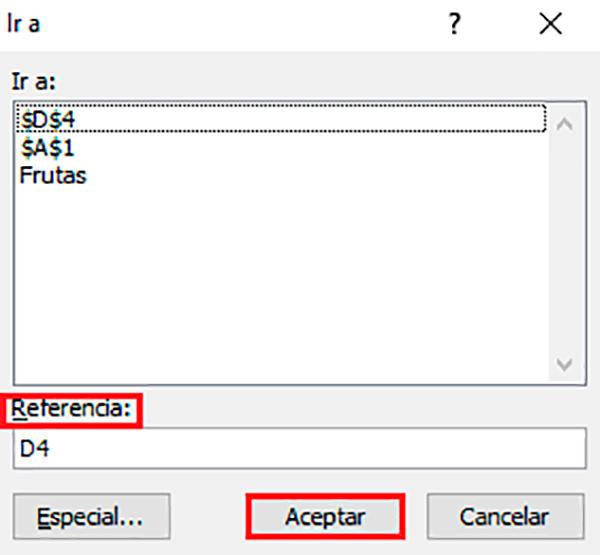 Ir a una celda específica de Excel