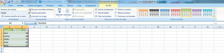 Seleccionar diseño de las tablas en Excel