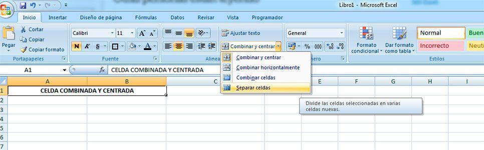 Dividir una celda en Excel