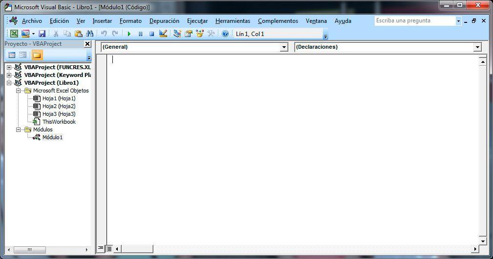 Usar el editor de Visual Basic en Excel