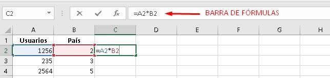 Barra de fórmulas en Exel