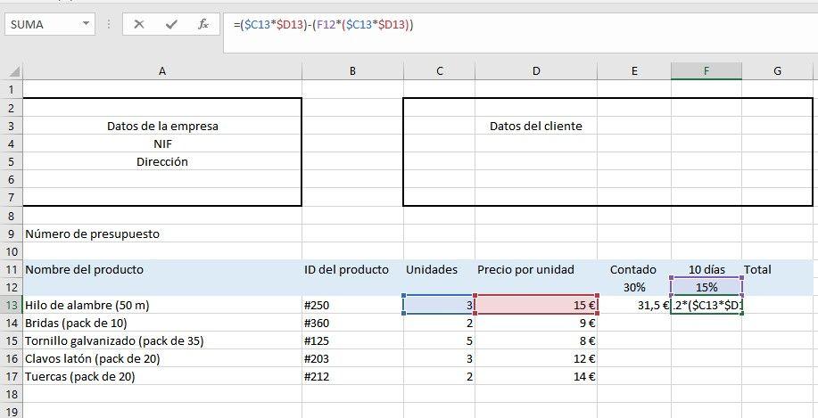 Modificar referencia mixta en Excel