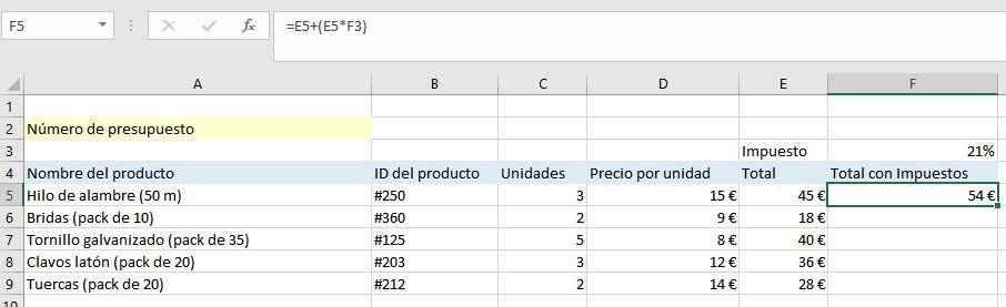 Símbolo $ en Excel