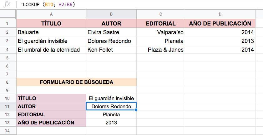 Función BUSCAR en Excel