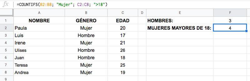 Cómo usar la Función CONTAR.SI.CONJUNTO en Excel