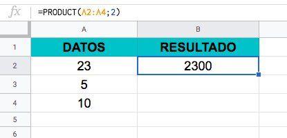 Función Producto en Excel