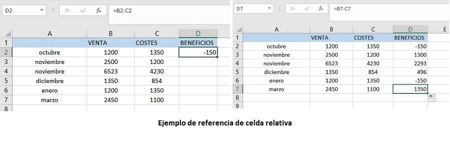 Referencia relativa en Excel