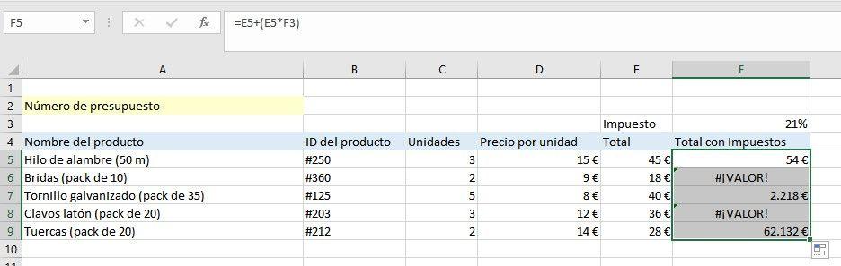 $ en Excel