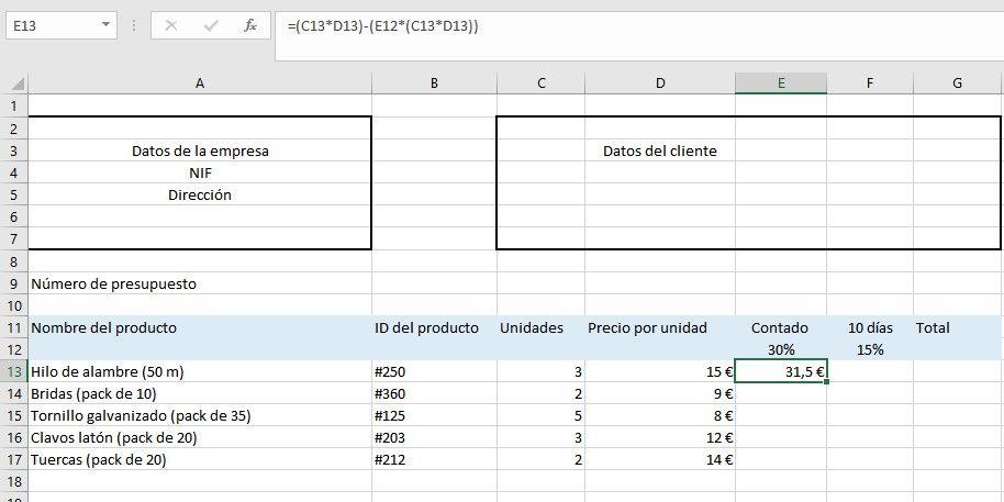 Añadir referencias mixtas en Excel
