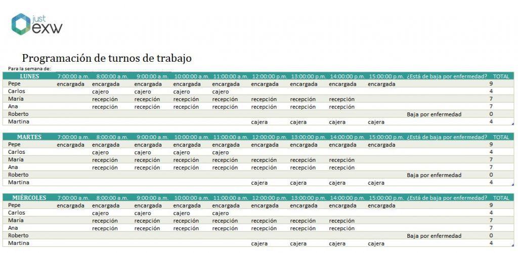 Calendario Turnos.Plantilla De Turnos De Trabajo Descarga La Plantilla Para Hacer Turnos