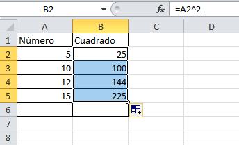 Cómo elevar números Excel