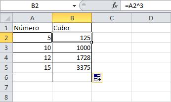 cómo elevar un número al cubo en Excel