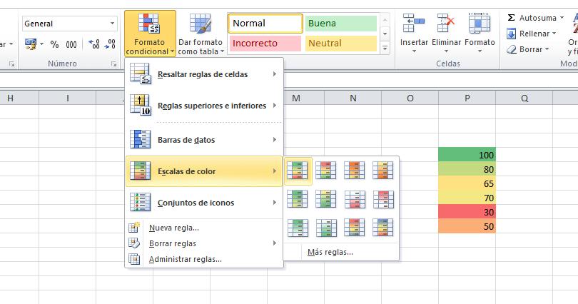 Escalas de color en Excel