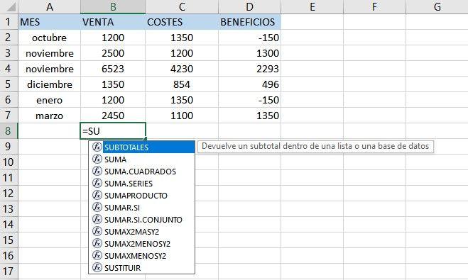 Añadir funciones de Excel