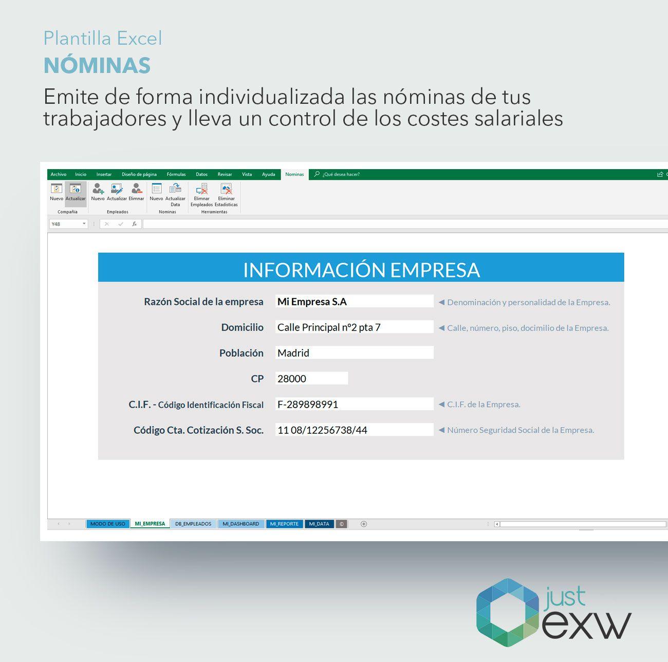 Plantilla Nóminas | Plantilla de Excel de nóminas | Plantilla ...