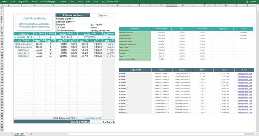 Factura de hotel en Excel gratis