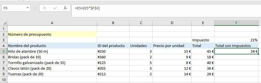 Cómo fijar fórmulas de Excel