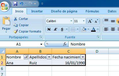 Filtrar por nombre en Excel