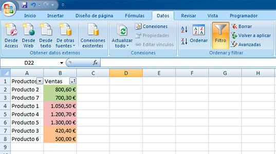 Filtrar resto de colores en Excel