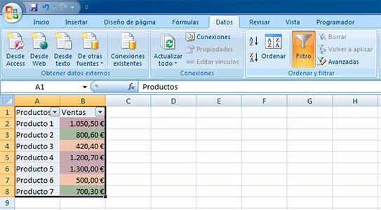 Filtro en Excel