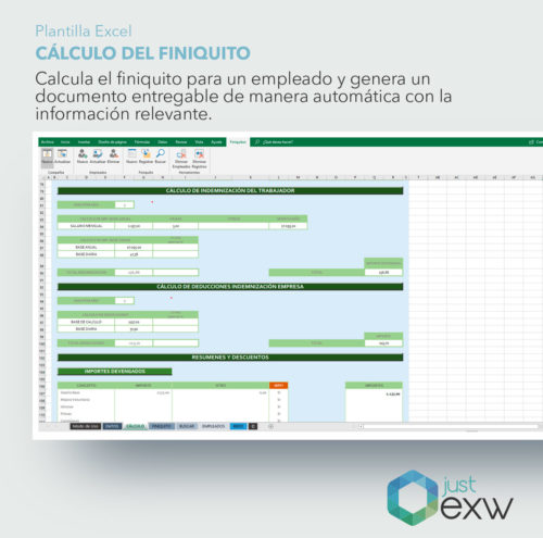 Calcular finiquito con Excel