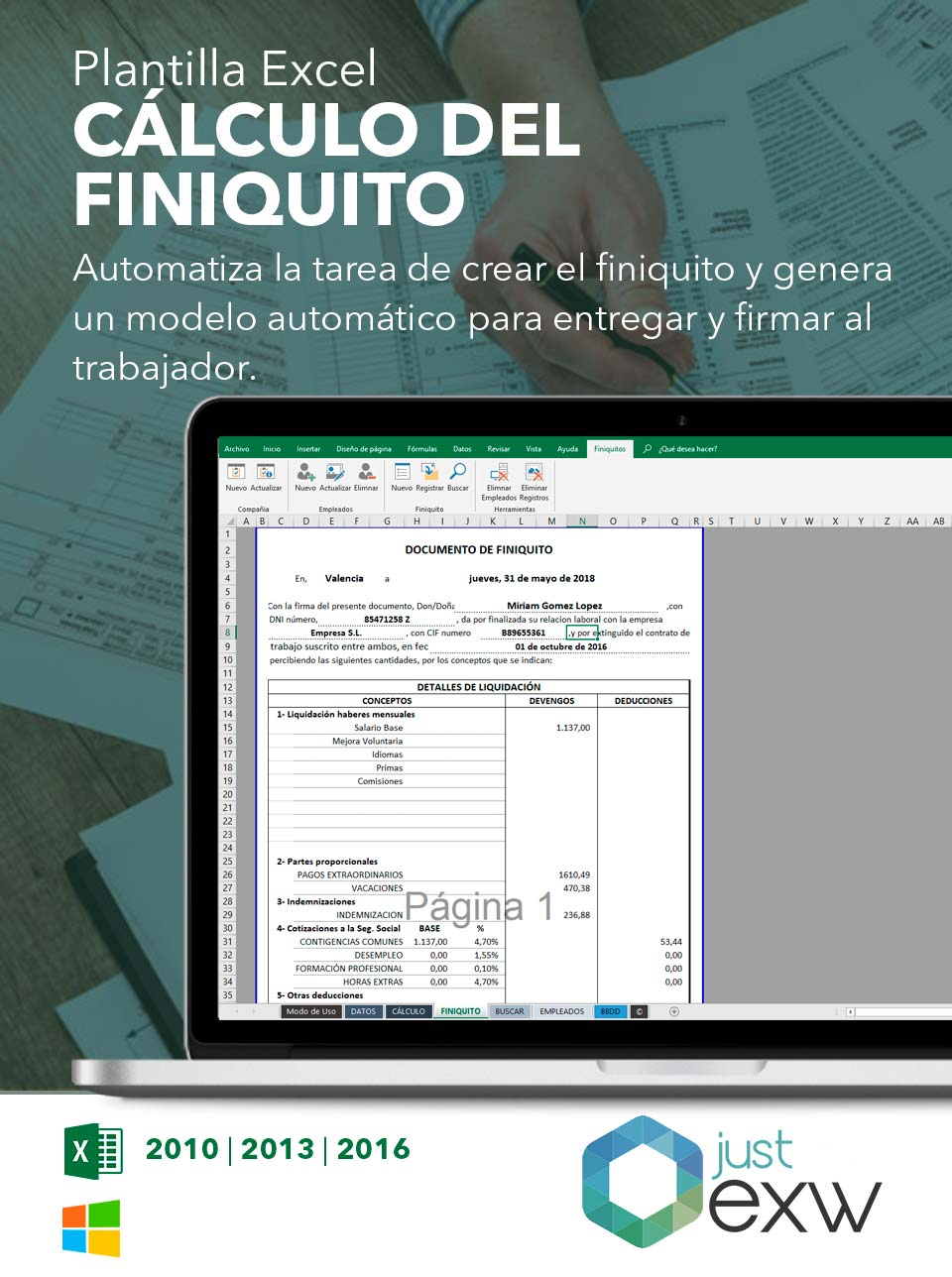 Plantilla de Excel calculadora de finiquito