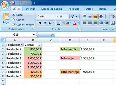 Formato celdas Excel por colores