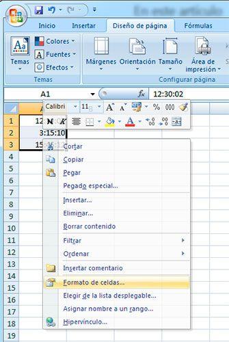 Formato celdas Excel