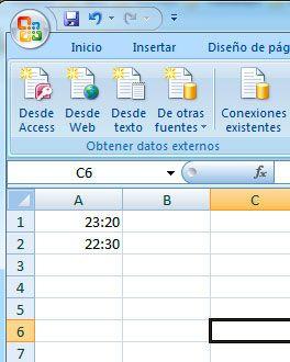 Formato hora en Excel