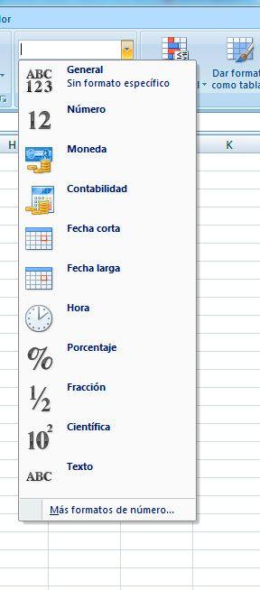 Elegir formatos en Excel