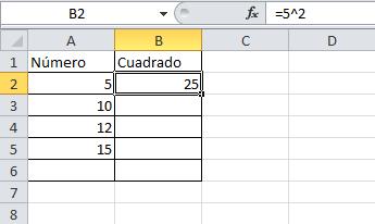 Elevar al cuadrado en Excel