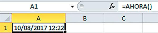 Fórmula de fecha y hora ahora celdas Excel