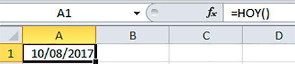Fórmula de fecha y hora hoy celdas Excel