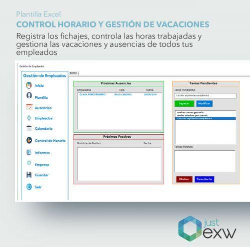 Control horario y gestor de vacaciones en Excel