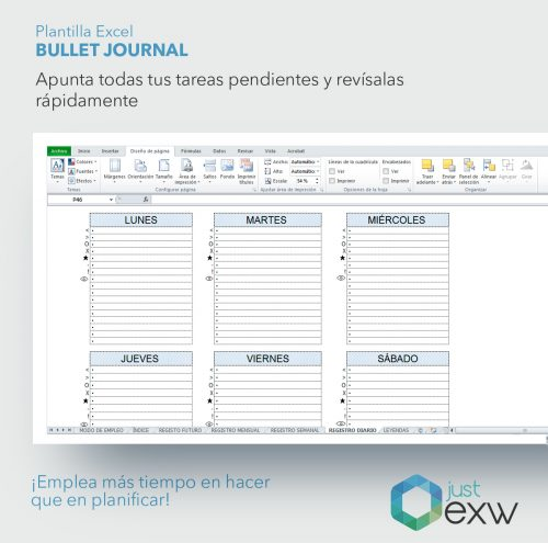 Bullet Journal en Excel
