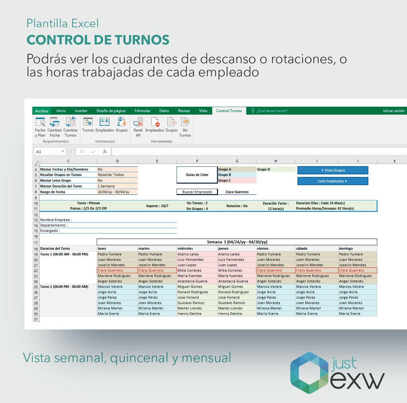 plantilla premium control de turnos de trabajo plantilla de excel