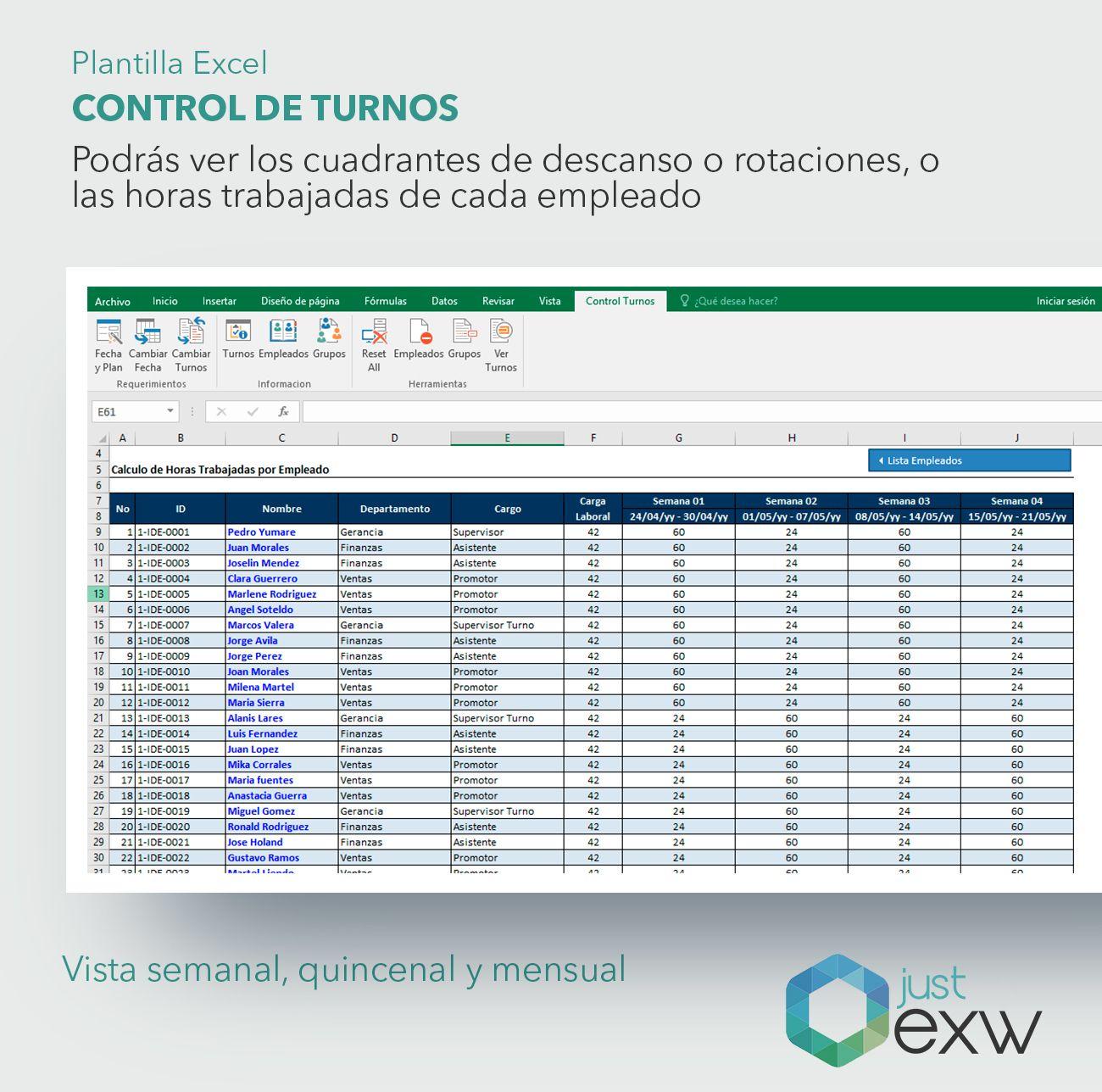 Plantilla Premium Control de Turnos de Trabajo | Plantilla de Excel