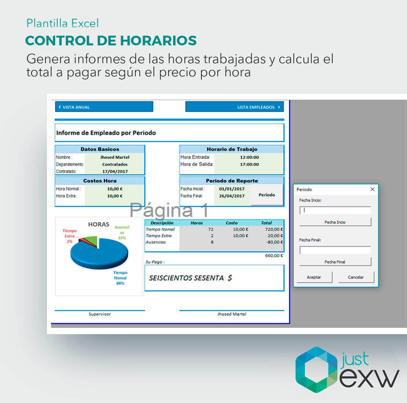 Plantilla Premium Control de Horarios y Horas Trabajadas | Plantilla ...