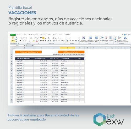 Excel para control ausencias y vacaciones de los trabajadores