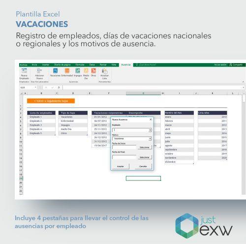 Excel para control de vacaciones y ausencias