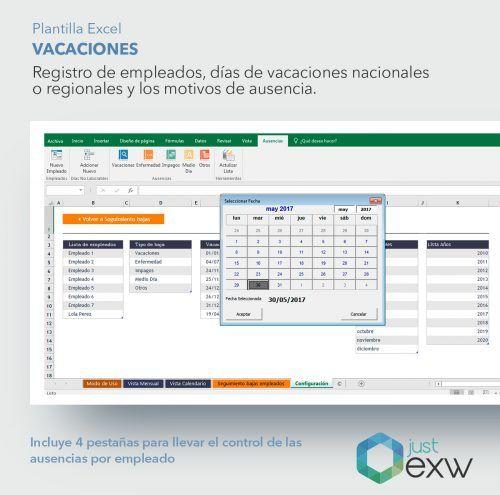 Excel para el control de las vacaciones de los empleados