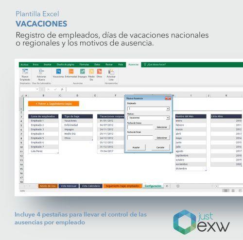 Excel para registro de vacaciones