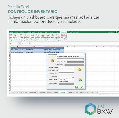 Plantilla de gestión de Inventarios con dashboard