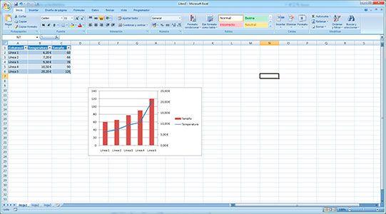 Hacer gráficos con dos ejes en Excel
