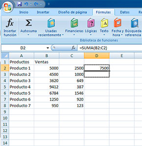 Hacer sumas en filas en Excel