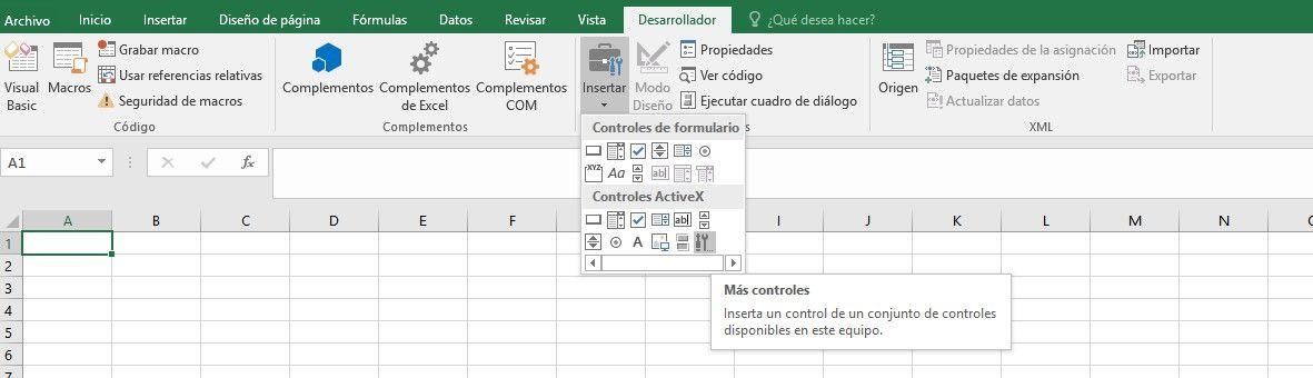 Activar barra de desarrollo en Excel